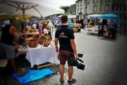 Tournage à la fête des paniers à Montsalvy